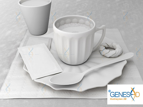 Coffee cup AO Pass GENESE3D Ilustração 3D