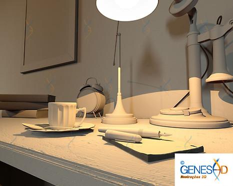 Old Officce table Light Pass GENESE3D Ilustração 3D