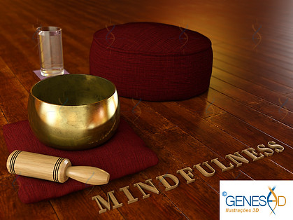 mindfulness meditation environment GENESE3D Ilustração 3D