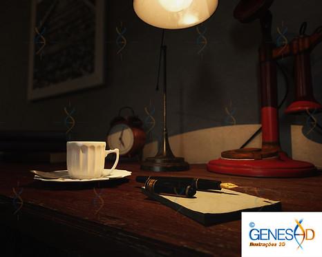 Old Officce table GENESE3D Ilustração 3D