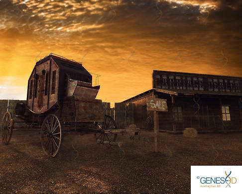 Old West Carriage Option 01 GENESE3D Ilustração 3D