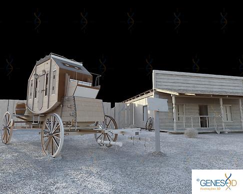Old West Carriage Light Pass GENESE3D Ilustração 3D