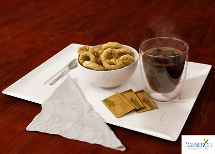 Coffee and Cookies Front view GENESE3D Ilustração 3D