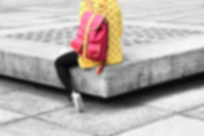 Girl With Red Backpack