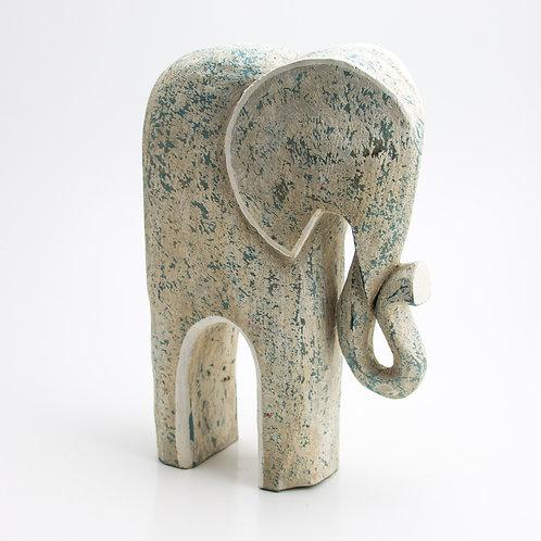 Animales. Elefante. Blanco y azul.