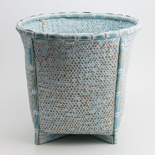 Cesto bambú azul lavado.