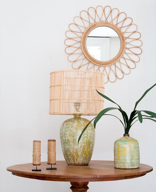 Lámpara cerámica Tibor, verde-blanco