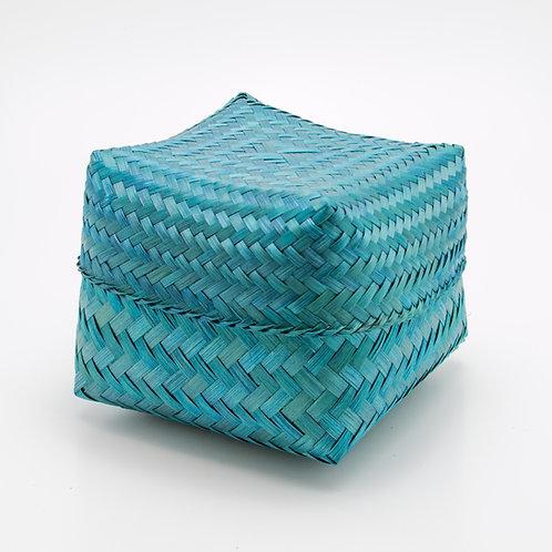 Caja de bambú, azul.