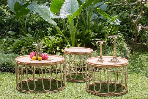 conjunto de mesas rattan natural redondas de centro