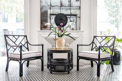 conjunto de mesa y butaca rattan negro