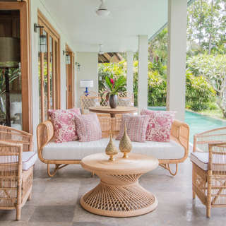 Conjunto sillas ratan porche