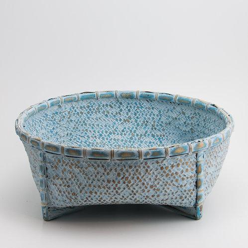 Cesto bambú azul lavado
