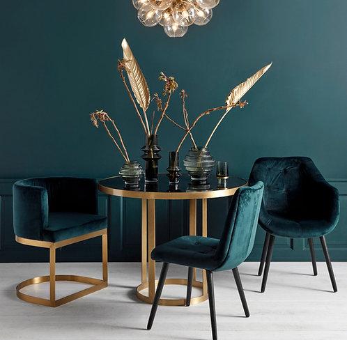 Mesa Round, dorada y negro.