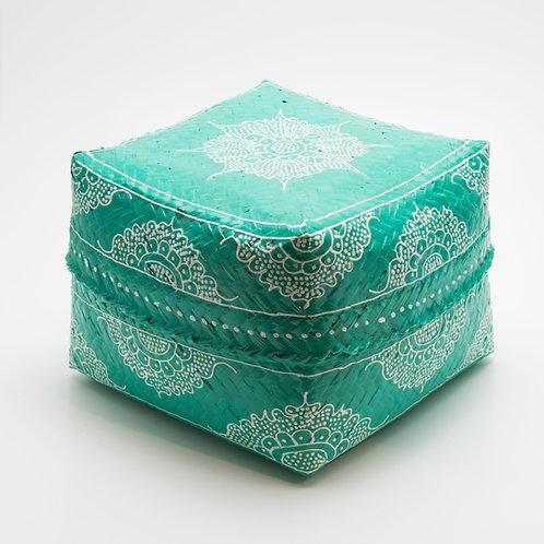 Caja de bambú, turquesa y blanca.