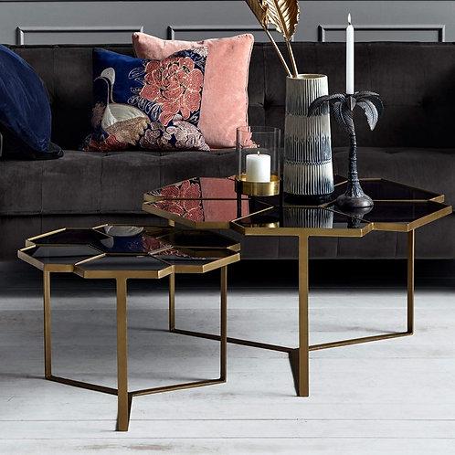 Mesa de centro Flor, dorada y negro.