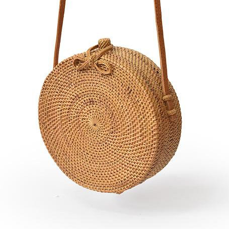 Bolso Bali rattan, color natural, cierre lazo