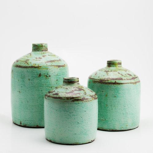 tres jarrones de cerámica color turquesa de la marca Balik