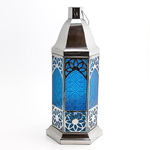 Candelabro inox. Azul