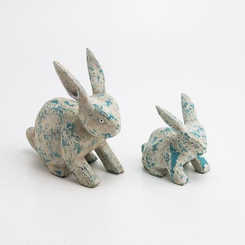 Animales. Conejo. Gris y azul.