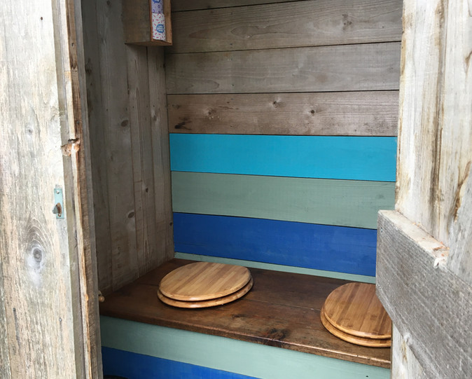 The compost toilet hut at the Exclusive Pitch