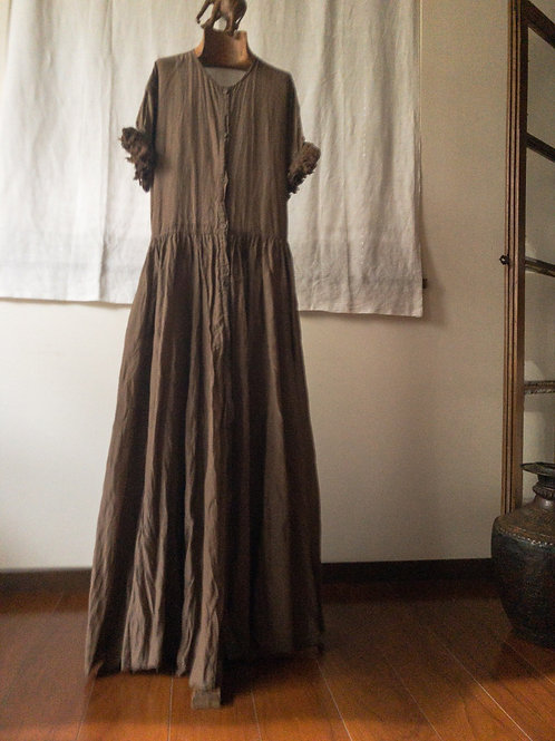tabrik / Fringe sleeve dress (濃泥)