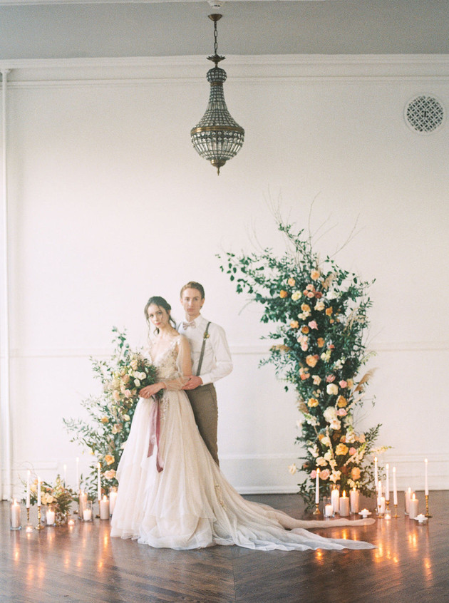 Assymetrical Floral Wedding Arch with Candles