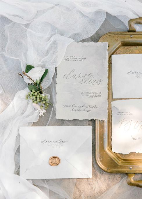 Vintage Torn Cotton Wedding Invitations