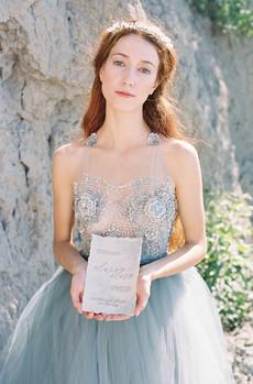 Dusty Blue Wedding Gown for Seaside Wedding
