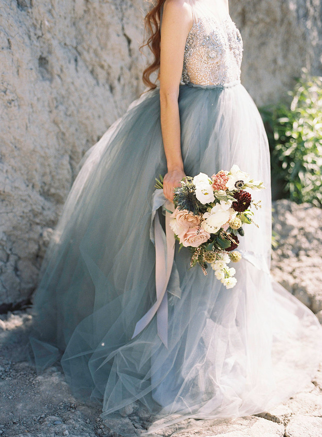 Dusty Blue Wedding Gown for Beach Wedding