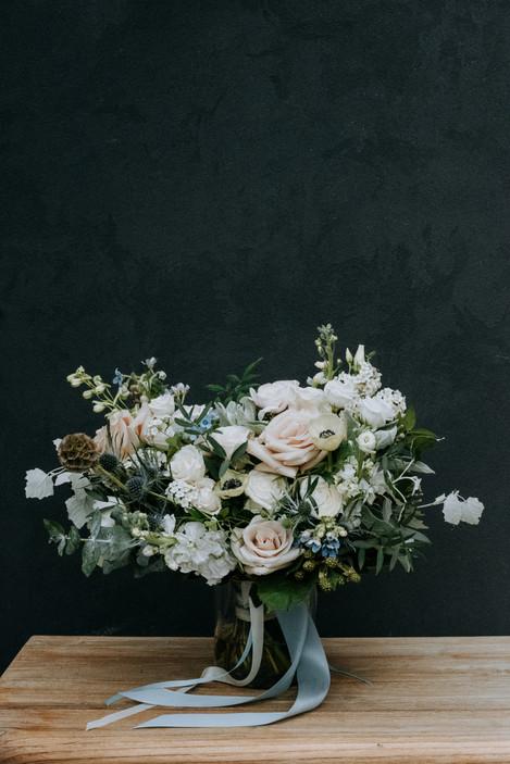 light blue and blush bridal bouquet