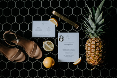Tropical Wedding Invitiation Flatlay