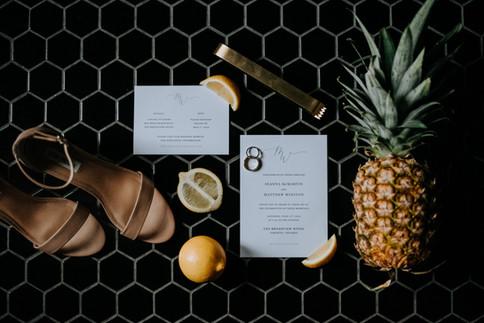Tropical Wedding Invitiation Flatlay
