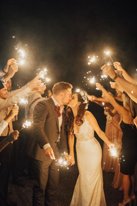 Fall Wedding Sparkler Exit