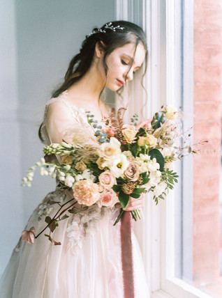Garden Inspired Bridal Bouquet with Muted Blush Tones