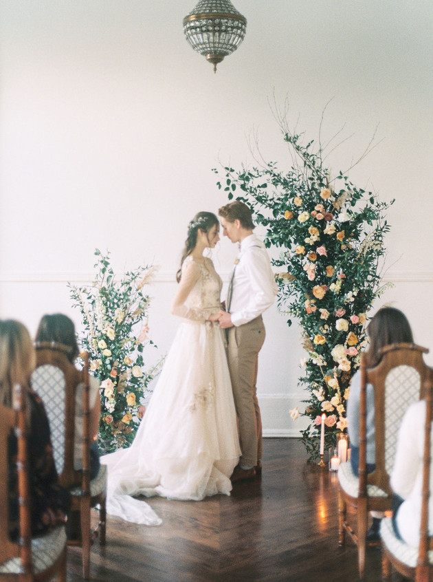Assymetrical Wedding Arch with Roses