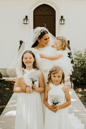 Bride with her Flower Girls