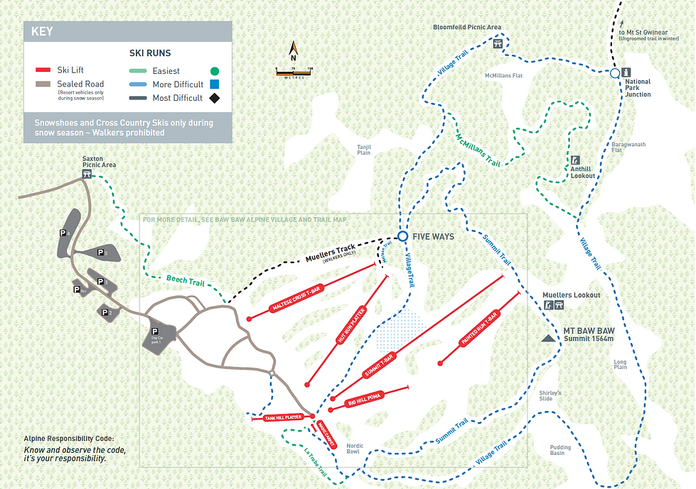 Graphical map of Mt Baw Baw Alpine Village with ski trails