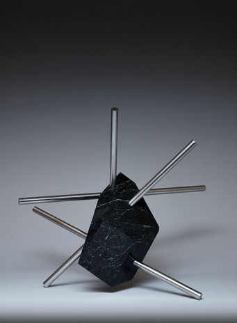 Osterns Intersection I, 2021 New Zealand greywacke and stainless steel 43 x 41 x 37