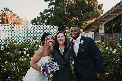 Brides and grooms love Officiant Amber. Here, a bride and groom smile big after they are pronounced husband and wife