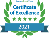 iWantGreatCare Certificate of Excellence profile badge in 2021 for Dr Iqbal Mohiuddin