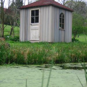 Cabane carrée végétalisée sédum - étang