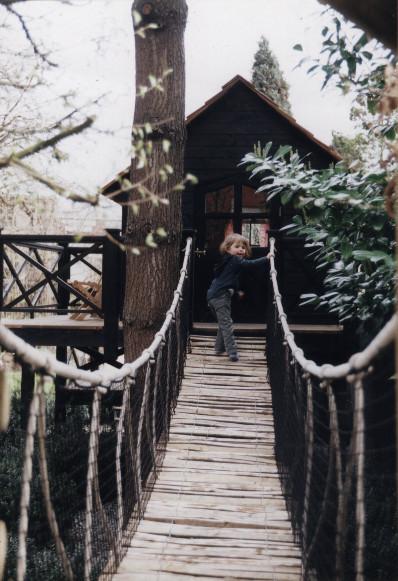 Cabane enfant pont de singe