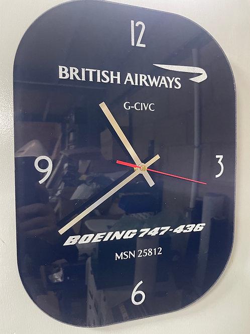 Ex-British Airways Boeing 747 window pane clock
