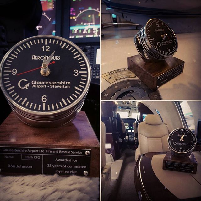 Unique upcycled aircraft parts, this 25 year service award made from a Solid Chestnut base and a pol