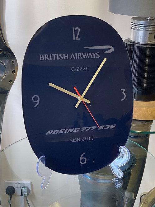 Ex-British Airways Boeing 777 G-ZZZC window pane clock
