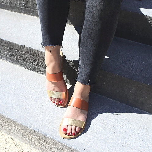 Leather Metallic Sandals