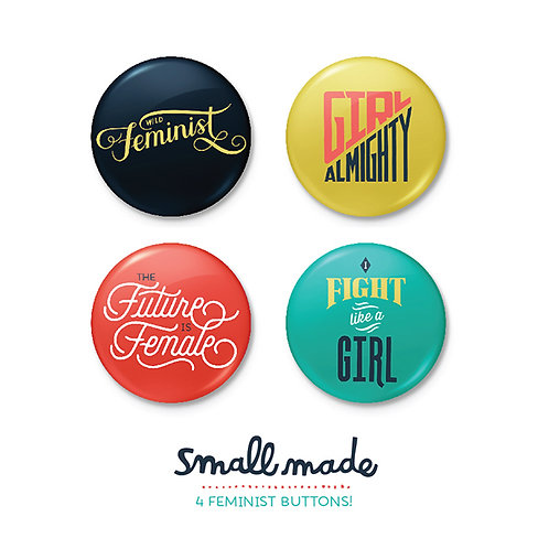 Feminist Button Badges (Set of 4)