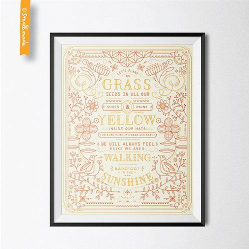 """Line By Line 8X10 Art Print """"Grass Seeds"""""""