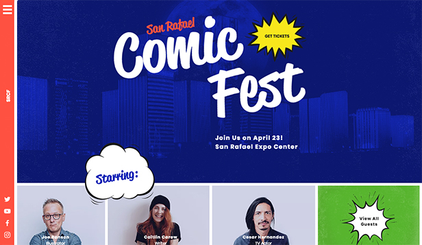 Podiumkunsten website templates – Comic Convention