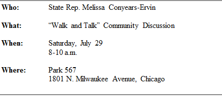 Conyears-Ervin to 'Walk and Talk' with Area Residents